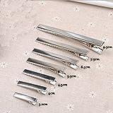 AsentechUK 20Stück, flache Metall-Haarspangen, Krokodilklammern, Haar-Zubehör, metall, silber, 4 cm