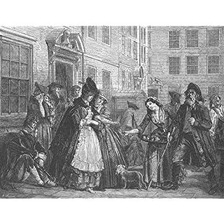LONDON: Brick Ct, Middle Temple, 1774, antique print, 1863