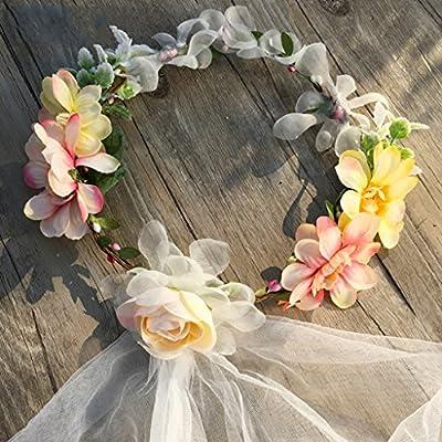 Couronne de fleurs Couronne de mariée Voile Couronne cheveux accessoires Garland voile blanc