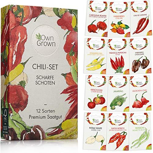 Chili Samen Set mit 12 Sorten Chilisamen für Garten und Balkon: Premium Chilisortiment - Bunte und alte Chili Pflanzen von OwnGrown - Praktisches Chili Set mit milden und scharfen Chilli Pflanzen