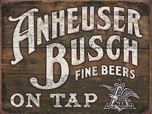 anheuser-busch-fine-bieres-on-tap-en-metal-panneau-mural-publicitaire-retro-art