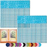 Bestlivings Fadenvorhang 2er Pack Gardine Raumteiler, Auswahl: 90x240 türkis - Pfauenblau