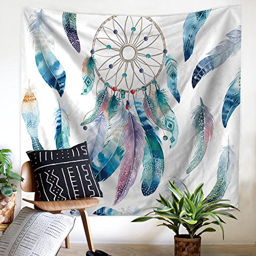 ZHH Dream Catcher Tapestry Tapicería de plumas bohemio Colorido arte moderno Floral Home Decor Tapices de pared indio para dormitorio, dormitorio, Living Room, 150 x 130 cm
