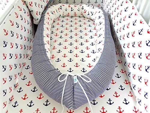 Preisvergleich Produktbild ComfortBaby ® multifunktionales Babynest (80 x 52 cm) Baby-Reisebett für Neugeborene. (WeissMitBuntenAnkern)
