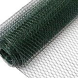Rete per recinzioni a maglia Esagonale + Paletti | Rotolo di 10m | Altezza Rete 1m | Dimensione Maglia 13x13mm | Incl 8 Paletti alti 140cm | Rete metallica rivestita di plastica verde per animali e piante