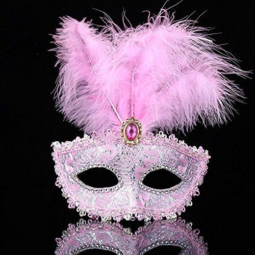 CAOLATOR Feder Maske Venezianische Maskerade Prinzessin Maske Halbe Gesichtsmaske Maskenspiel Bühnen-Performance für Männlich und Weiblich (Maskerade Maske Rosa Venezianischen Mit Federn)