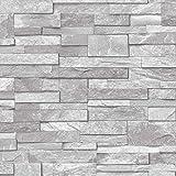 3d papel pintado efecto ladrillo de piedra pizarra Vinilo–Piedra Sand lavable, color gris