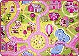 """The Rug House Foire Rose coloré Enfants Filles Town City Routes pour Enfants Tapis de Zone de Jeu Tapis de Sol, Rose, 80cm x 120cm (2'7"""" x 3'11"""")..."""