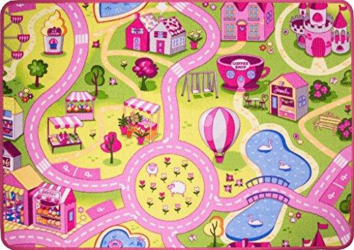The Rug House Kinder-Spielteppich Teppich Straßen Kirmes Matte Stadt Verkehr 95cm x 133cm (3'1