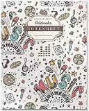 DÉKOKIND Notenheft | DIN A4, 64 Seiten, 12 Notensysteme pro Seite, Inhaltsverzeichnis, Vintage Softcover | Dickes Notenbuch | Motiv: Musikmuster