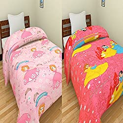 Renown Magic Princess & Barbie Kids Cartoon Design Reversible Single Bed AC Blanket / Dohar / Quilt ( Pack Of 2)