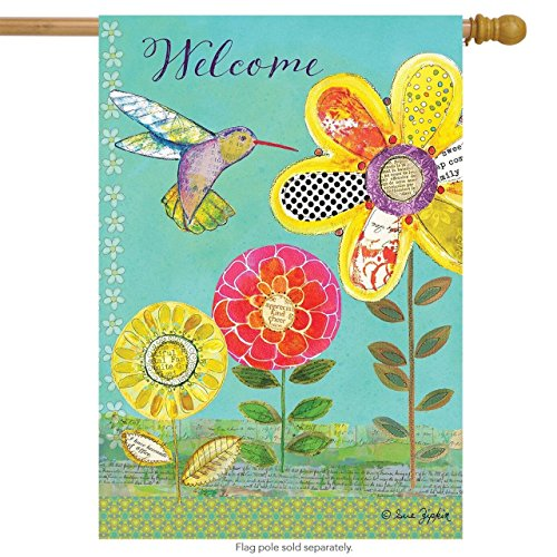 CHKWYN Hummingbird Garden Spring House Flag Welcome Primitive Floral for Party Outdoor Home Decor Size: 28-inches W X 40-inches H -