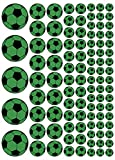 100 Aufkleber, Fußball, Sticker, 15-50 mm, grün/schwarz, aus PVC, Folie, bedruckt, selbstklebend, EM, WM, Bundesliga