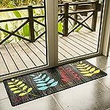 USTIDE Colorful Leaf Teppich, Bedruckt, Rutschfester Gummimatte Langlebig Billig Teppich Läufer Wasserdicht Waschbar Boden Teppiche für Verrutschen Tür/Lager/Küche/Wäschekorb