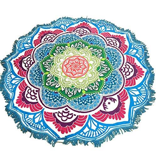 Fyore Ronda Mandala Tapiz Estilo de Bohemio Estera de Yoga con Decoración de Franjas Azul 147x147cm