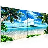 Bilder Strand Palmen Wandbild 200 x 80 cm Vlies - Leinwand Bild XXL Format Wandbilder Wohnzimmer Wohnung Deko Kunstdrucke Blau 5 Teilig -100% MADE IN GERMANY - Fertig zum Aufhängen 603355a