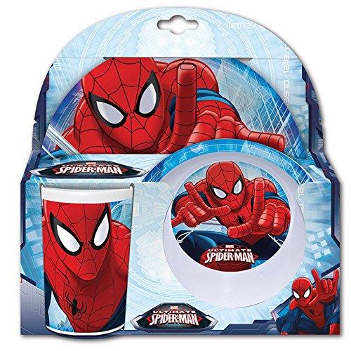 Marvel Spiderman Eßzimmer Frühstücks-Set Melamin-Teller, Tasse und Schale