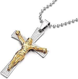 COOLSTEELANDBEYOND Grande Gesù Cristo Crocifisso Croce Ciondolo, Collana con Pendente da Uomo, Acciaio Oro Argento Palla Catena 75cm