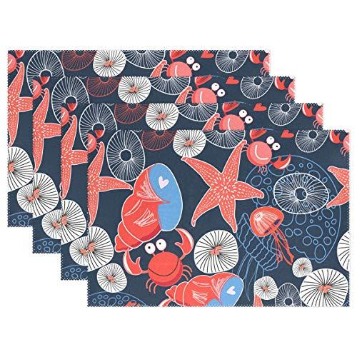 Jereee Crabs Seestern Conch Set von 1 Platzdeckchen hitzebeständig Tischmatte waschbar schmutzabweisend Anti-Rutsch-Polyester Tischsets für Küche Esszimmer Dekoration, Vinyl, 6er-Set