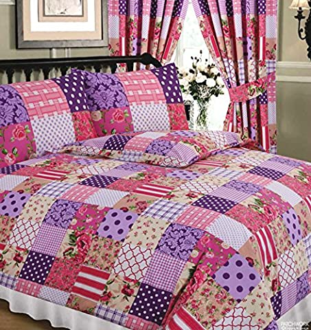 King Size Bed Patchwork Berry, Superior Quality 68 Pick Duvet / Quilt Cover Set, BY HICO, Floral Damask Polka Dots Spots Flowers Thatch Weave Tartan Check, Purple Aubergine Plum Pink Cream White Beige