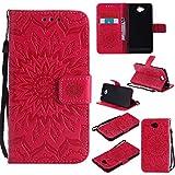 YYhin Schutzfolie für Microsoft Lumia 650/Lumia 650 Dual-SIM hülle, Cartera Wallet Leder abnehmbare magnetische abnehmbare Tasche mit Flip Schutzhülle Case.(rot)