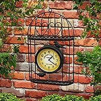 Parkland Shabby Chic Stil Vogelkäfig Garten Uhr, an Wand montierbar schwarz Metall Vogelkäfig mit Vintage Viktorianischer Station Effekt Uhr Face–Ideal für Innen- und Außeneinsatz