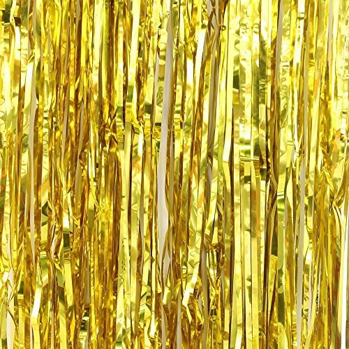 Gold FINE CUT Metallic Foil Shimmer Door Curtains - Finer Cut Curtains for more Shimmer !