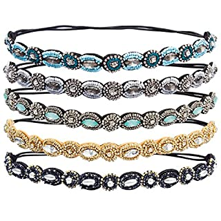 ACO-UINT 5 Pieces Rhinestone Beaded Elastic Headband, Fashionable Handmade Crystal Beaded Elastic hairbands For Lady Women Girls Hair Accessories,