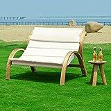 SoBuy OGS24-L-W Canapé détente Salon de jardin Patio extérieur Chaise longue 2 places Cadre en bois Coussin en Polyester Tissu