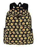 Greeniris Mädchen Segeltuch Emoji Rucksack Damen Vintage Schulrucksack für Damen/Kinder Multicolor