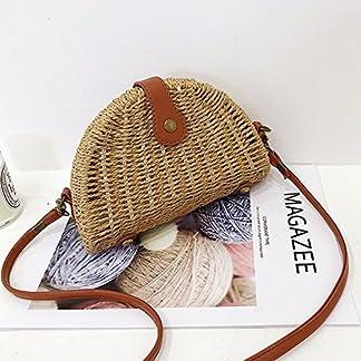 OneMoreT – Bolso semicircular de ratán para verano, playa, mujer, tejido cruzado, bolso de mano de estilo bohemio