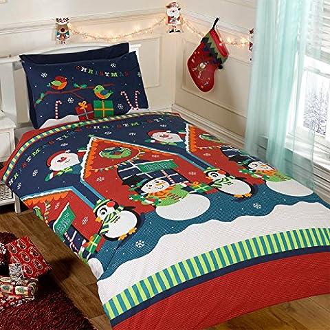 Just Contempo Parure de lit enfant avec motif de Noël Rouge, bleu, Double