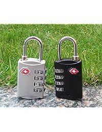 DOCOSS-309-TSA Approved Lock 4 Digit for USA Number Locks Padlock for Luggage Bag Travelling International Password Locks Combination Lock Travel Locks