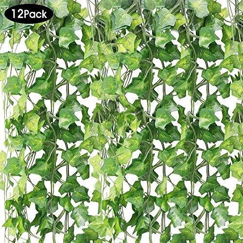 SPECOOL Blätter Girlande Künstlichen Pflanzen, 12 Packungen Zum Aufhängen Pflanzen Fake Vines Seide Ivy hinterlässt Greenery Girlande für Hochzeit Küche Wand Outdoor Party Festival Decor (diguaye)