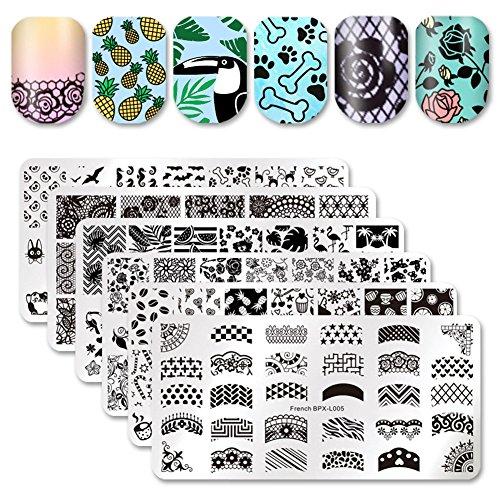Born Pretty 6Pcs Nagel-Kunst-Schablone Set Französisch Design-Blumen-Spitze-nette Tier Maniküre Drucken Stamping
