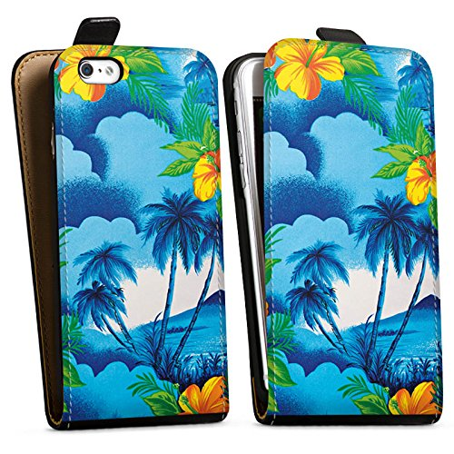 Apple iPhone X Silikon Hülle Case Schutzhülle Urlaub Palmen Hawaii Downflip Tasche schwarz