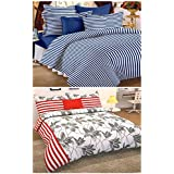 Story@Home Premium Magic Combo 152 TC 2 Pieces Bedsheets with 4 Pillow Covers - White, Blue