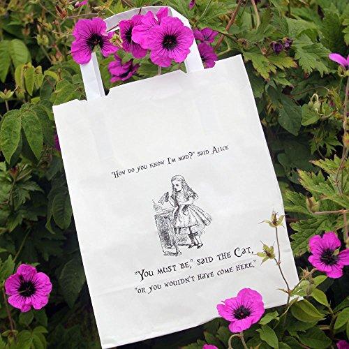 Alice in WonderlandParty Beutel Weiß mit Griffen 10 x Hochzeit / Mad Hatters