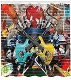Abakuhaus Duschvorhang, Collage aus Musik Farbe und Musikinstrumenten Street Wall Art Freude Nostalgie Digital Druck, Blickdicht aus Stoff mit 12 Ringen Waschbar Langhaltig Hochwertig, 175 X 200 cm