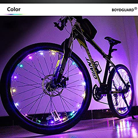 Bodyguard Bike Wheel Lights - Auto Open and Close - Ultra Bright 20 LED Bicycle Spoke Light, Bicycle Tire Accessories (1 pack) - Waterproof -