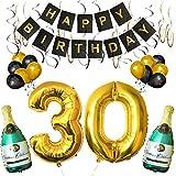 BELLE VOUS Set 30esimo Compleanno Decorazioni Palloncini Striscione Include Bottiglie Champagne Gonfiabili, Numero 30 Oro 101.6cm e Palloncini- Kit Decorazione Forniture Festa