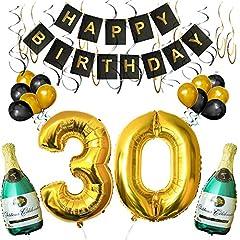 Idea Regalo - BELLE VOUS Set 30esimo Compleanno Decorazioni Palloncini Striscione Include Bottiglie Champagne Gonfiabili, Numero 30 Oro 101.6cm e Palloncini- Kit Decorazione Forniture Festa