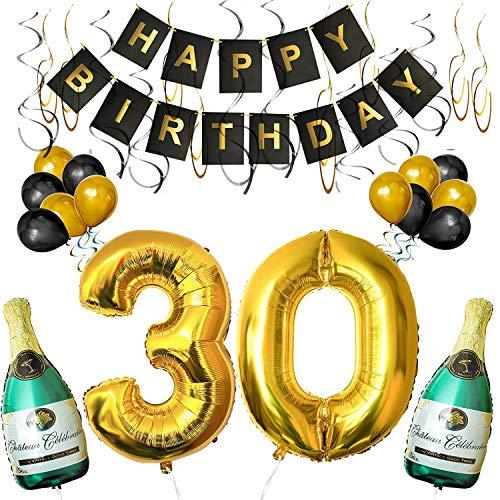 BELLE VOUS Happy Birthday Luftballons Banner Dekoration Set zum 30. Geburtstag Umfasst Aufblasbare Champagnerflaschen, 101,6cm Gold Nummer
