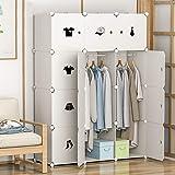 Tragbarer Kleiderschrank DIY Kunststoff Garderobenschrank Regalsystem Steckregalsystem mit 2 Kleiderstangen Modular Regalsystem Platzsparende Kapazität 660L Weiß