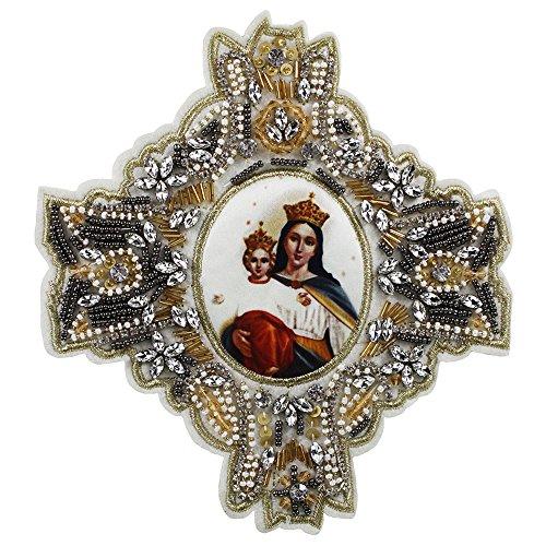 Exquisito bordado de Mary Queen con cuentas de apliques de tela para ropa bolsa suministros 1 pieza