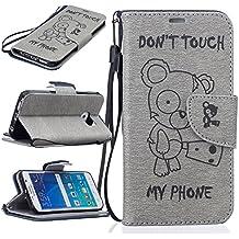 Funda Samsung Galaxy S6 edge Case , Ecoway Winnie el patrón de gofrado PU Leather Cuero Suave Cover Con Flip Case TPU Gel Silicona,Cierre Magnético,Función de Soporte,Billetera con Tapa para Tarjetas ,Carcasa Para Samsung Galaxy S6 edge - gris