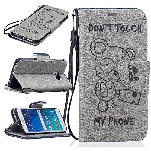 Bär Film Spirit (Samsung S7 Hülle, SpiritSun Ledertasche Schutzhülle für Samsung Galaxy S7 Folio PU Leder Tasche Case Cover Bookstyle mit Standfunktion und Kredit Kartenfächer (Bär,)