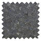 Divero 4 Fliesenmatten Naturstein Mosaik aus Andesit für Wand und Boden dunkelgrau á 56 x 56 cm