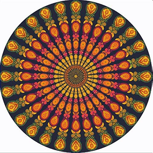 Sunfire Retro Tapisserie indischen Mandala rund Beach Überwurf Chiffon Tischdecke Strandtuch Gold...