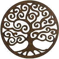 Mural Árbol de la Vida de metal marrón oriental para terraza exterior Garden - Lola Home